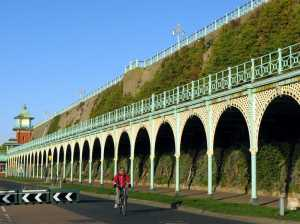 Green wall on cliff face in Brighton