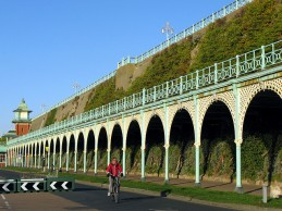 Madeira terraces, Kemp town with cyclist