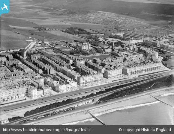 St Mary's Hall and Kemptown 1926 showing the planting on Madeira Drive and Duke's Mound. Britain from above. Copyright Historic England