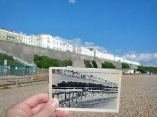 Approximately 100 years separates these photos, showing Madeira Drive, the Volks railway, Kemp Town and the Madeira Drive green wall