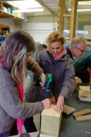Course participants DIY-ing their bird boxes