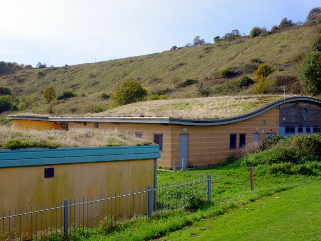 The 'chalk downland' green roofs of the Crew Club community centre, Whitehawk, Brighton