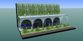 Restored terrace with cafe and shop pods underneath - like Victoria bathing machines these could be established in a space in front of the terraces to be used before the structure is made safe, and wheeled under the arches in due course
