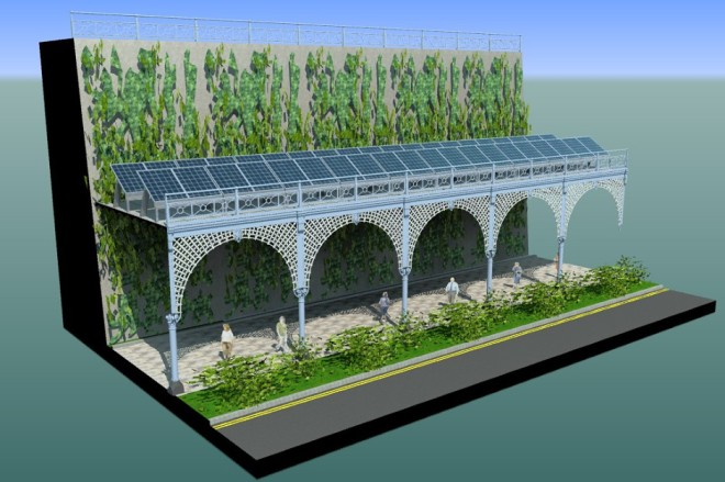 Photovoltaics could be established on the terraces where not safe to walk on. This can provide green electricity and some economic benefits, as well as a working platform for green wall maintenance.