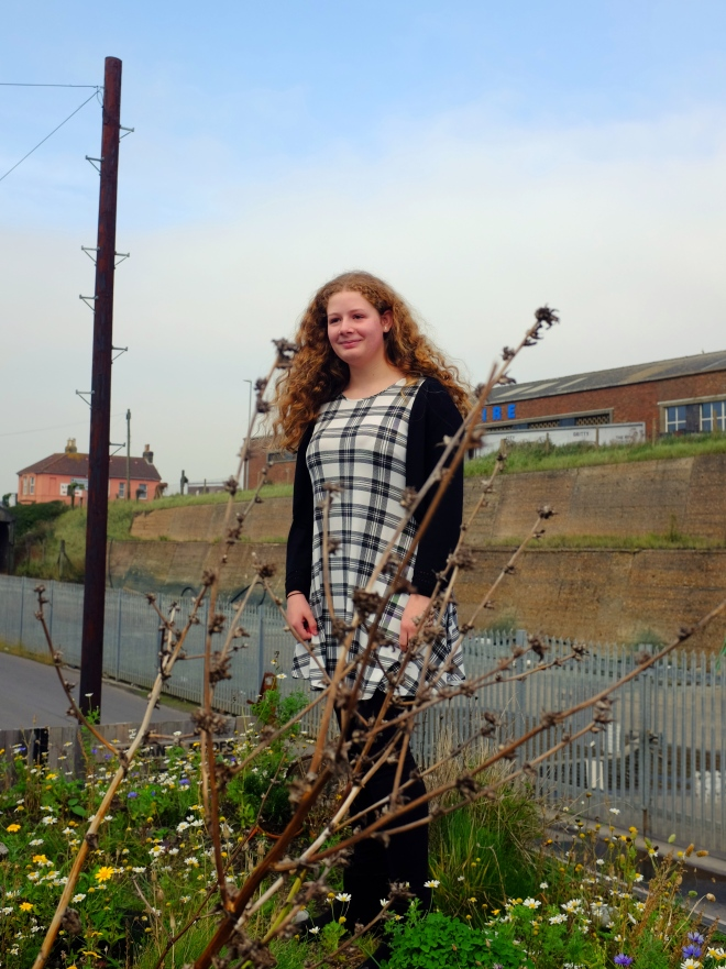 Competition winner Tamsin on the green roof at Organic Roofs HQ, Shoreham