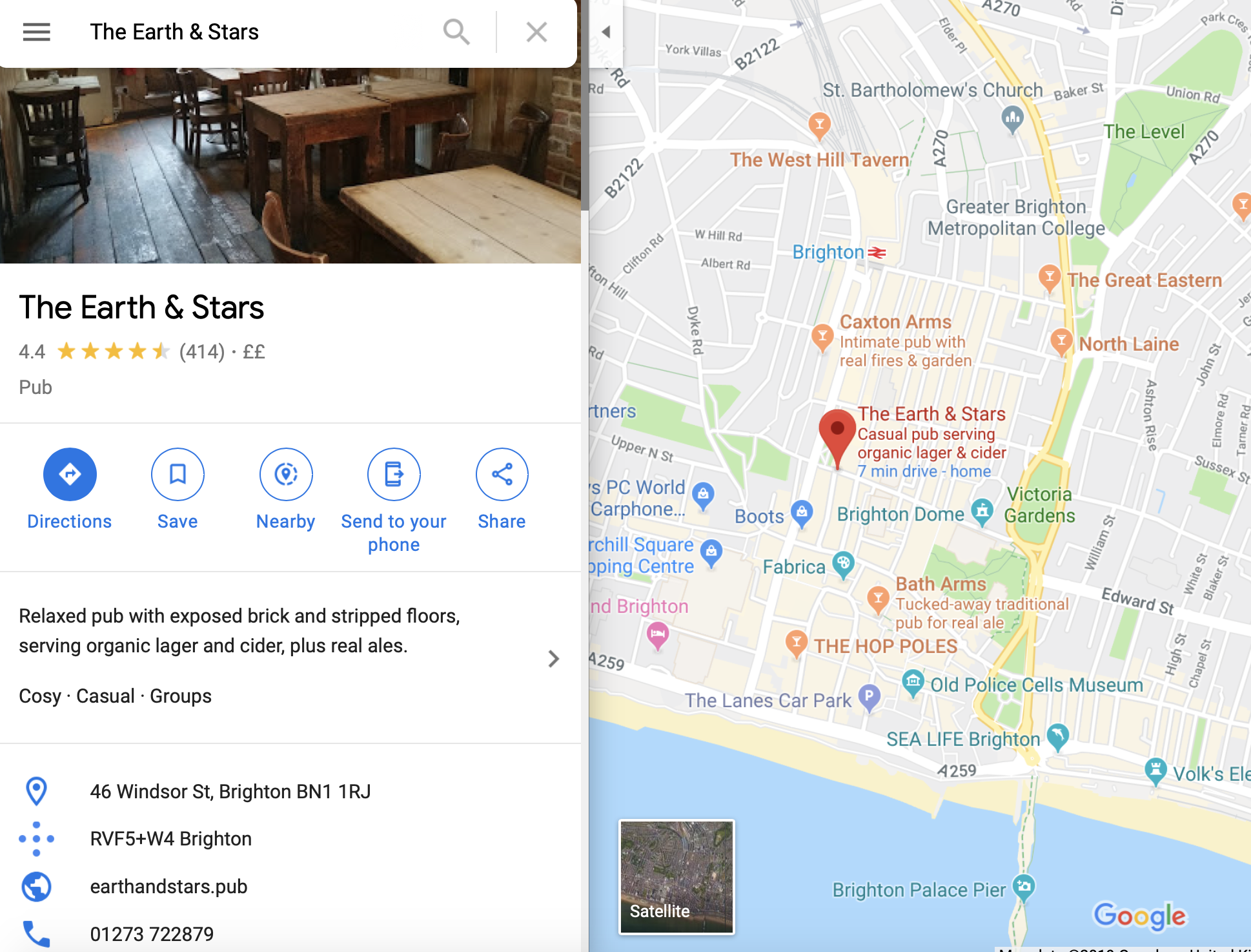earth and stars pub directions